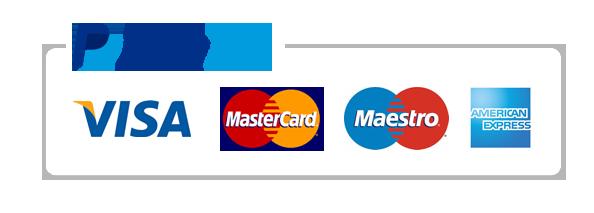 PayPal, Visa, Mastercard, American Express, Discover